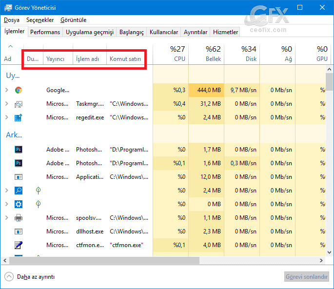 Windows 10'da görev yöneticisi ayarları nasıl sıfırlanır? www.ceofix.com