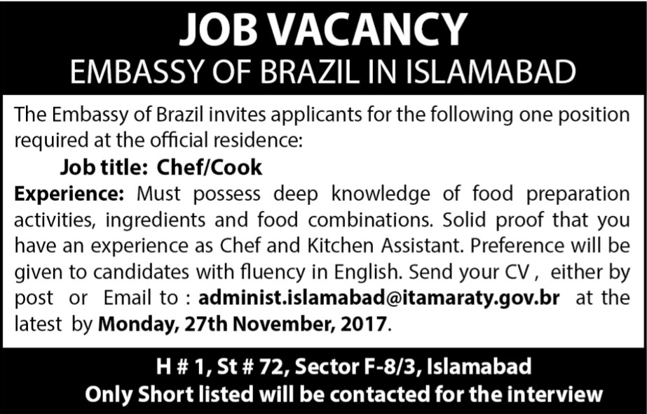 Jobs In Brazil Embassy  In Islamabad Nov 2017