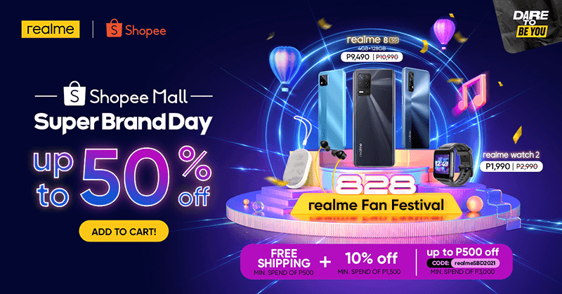 realme PH is giving up to 50 percent price cut at its Shopee Super Brand Day Sale