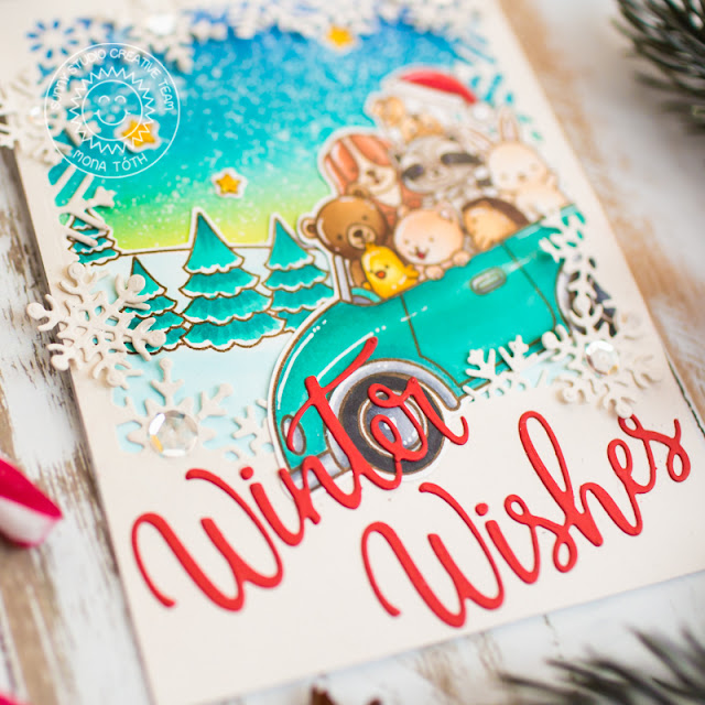 Sunny Studio Stamps: Scenic Route Cruising Critters Layered Snowflake Frame Dies Winter Themed Holiday Card by Mona Toth