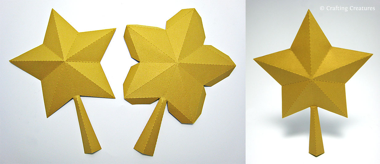 Crafting Creatures: 3D Paper Star for Xmas Tree Topper (FREE SVG, DXF ...