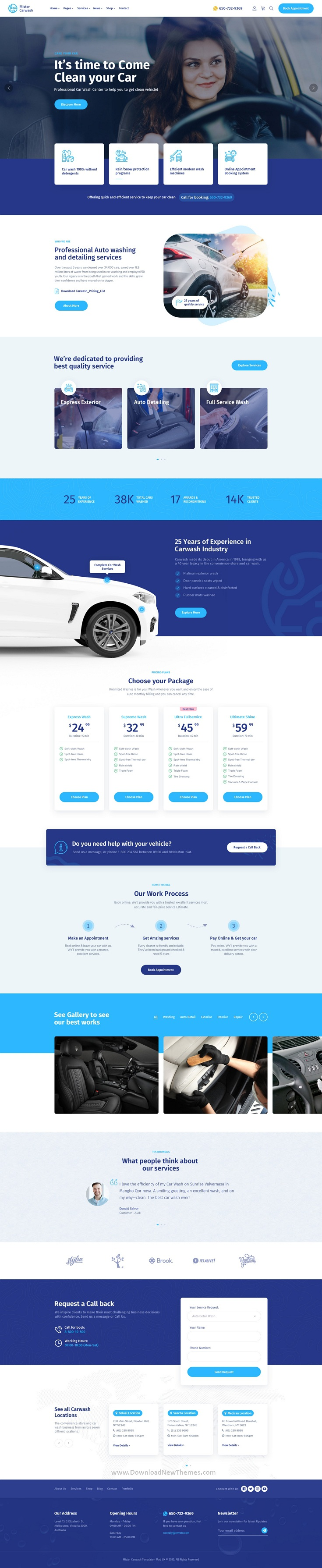 Car Washing Service & Auto Detail PSD Template