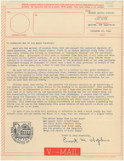 Letter from Hopkins to Dartmouth alumni serving in the US military