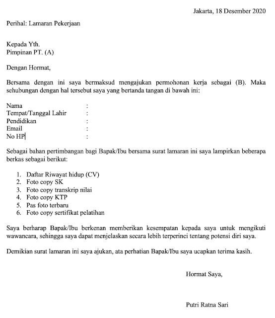 Contoh Surat Lamaran Kerja Umum (via: mapel.id)