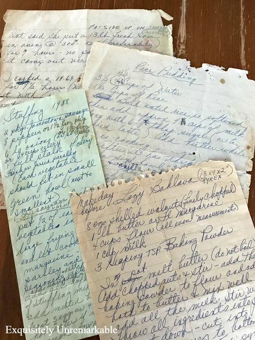 Handwritten Recipe Pages