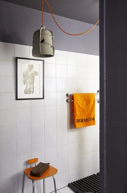 grey and orange bathroom