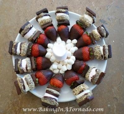 S'More and Strawberry Skewers | www.BakingInATornado.