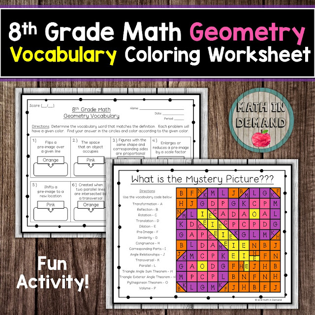 8th Grade Math Geometry Vocabulary Coloring Worksheet