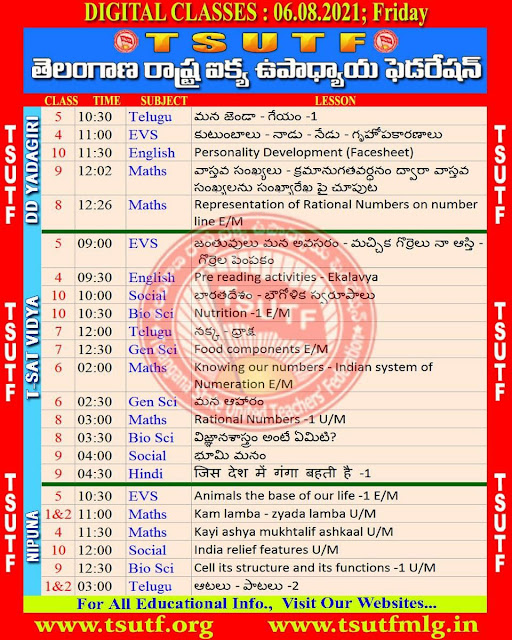 06-08-2021 TS SCERT Digital Classes Schedule Video Lessons Links and Worksheets Download