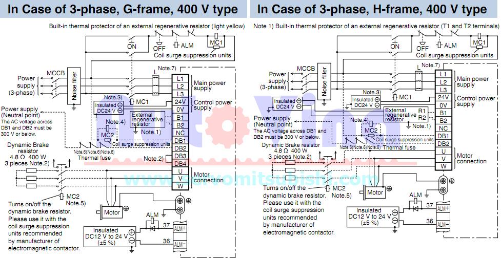 Sơ đầu đấu nối servo Panasonic Minas A5 loại 3 phase 400V Frame G, Frame H
