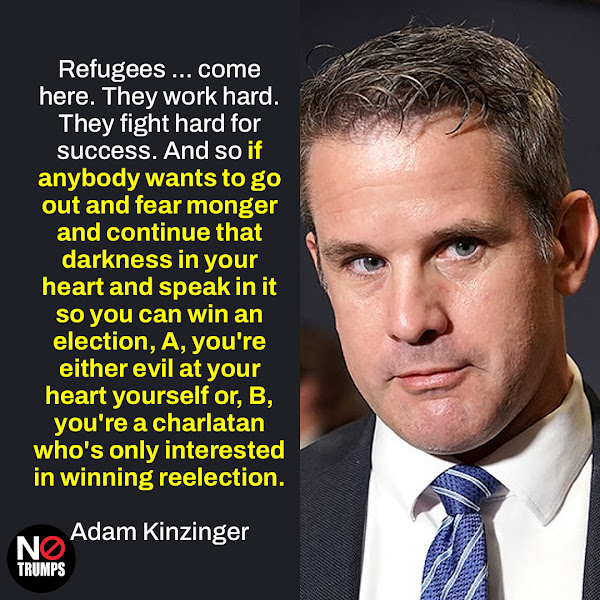 Refugees ... come here. They work hard. They fight hard for success. And so if anybody wants to go out and fear monger and continue that darkness in your heart and speak in it so you can win an election, A, you're either evil at your heart yourself or, B, you're a charlatan who's only interested in winning reelection. — Republican Rep. Adam Kinzinger of Illinois