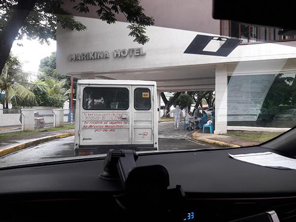 drive thru swab testing at Marikina Hotel