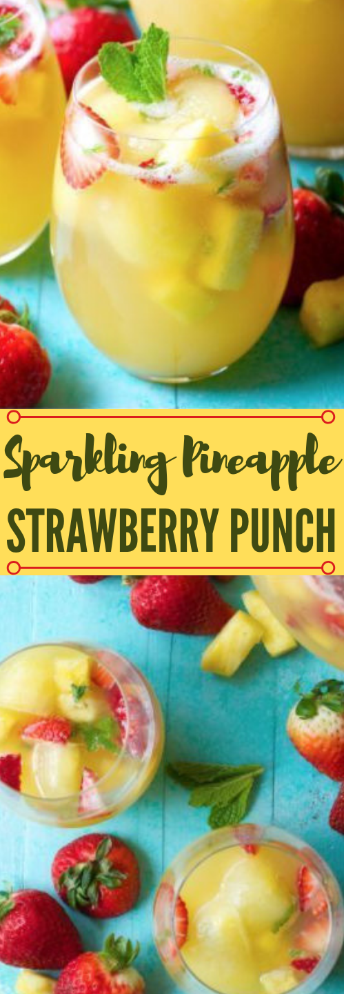 Sparkling Pineapple Strawberry Punch #pineapple #drink #punch #smoothie #cocktail