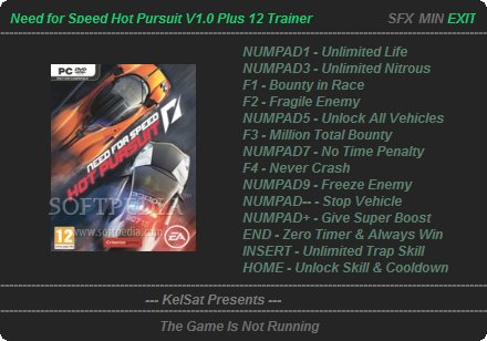 Trainer Need For Speed : Hot Pursuit, Cheat NFS PC Game