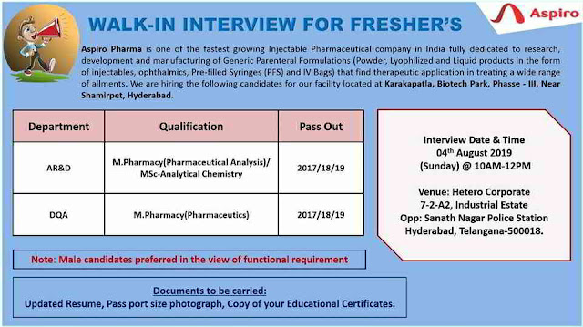 Aspiro Pharma - Walk-in interview for Freshers - AR&D/DQA on 4th August, 2019