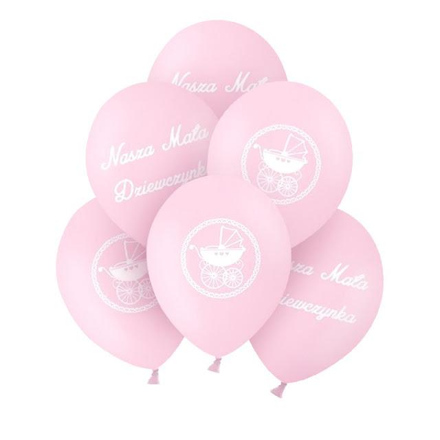 Różowe balony na Chrzest dziewczynki - dekoracje wnętrza