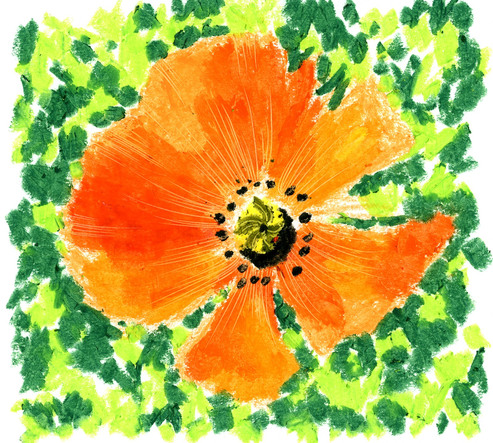 How To Create Beautiful Flowers Using Oil Pastels Using A Bright Green,  Make Some Bold Marks And Squiggles Onto The White Background,