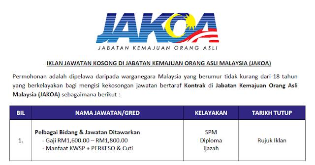 jabatan kemajuan orang asli malaysia jawatan kosong