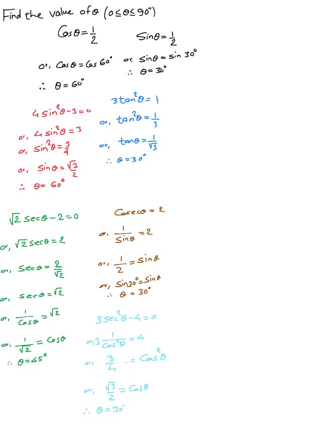 Solve the given trigonometric equation equation 0≰θ≤90°