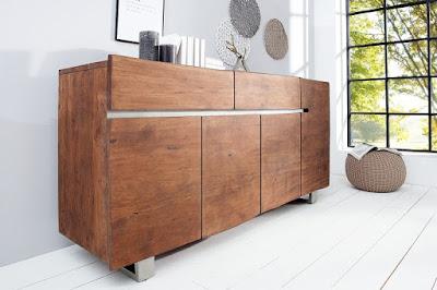 komoda z masivu, dřevěná komoda, hnědá komoda moderní nábytek Reaction, nábytek z masivu, nábytek ze dřeva