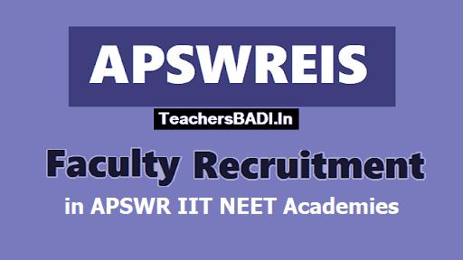 APswreis Faculty Recruitment, APSWR IIT NEET Coaching Academies