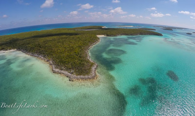 Drone shot of Hoffman's Cay, Berry Islands, Bahamas