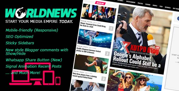 WorldNews - Profesional Blogger Template Untuk Media Online