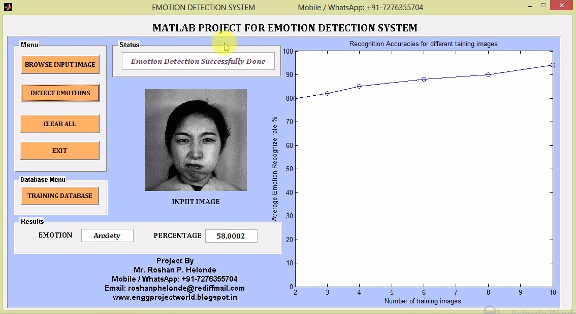 Matlab Project for Emotion Detection Using Facial Expression Full