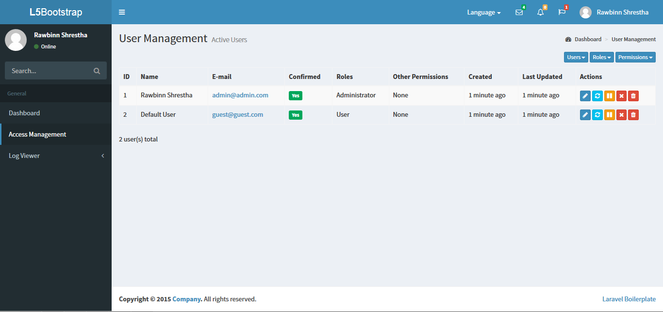 Best user management admin panel package for starting your first