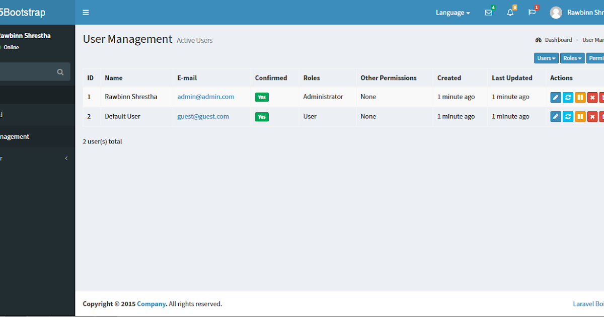 Best user management admin panel package for starting your