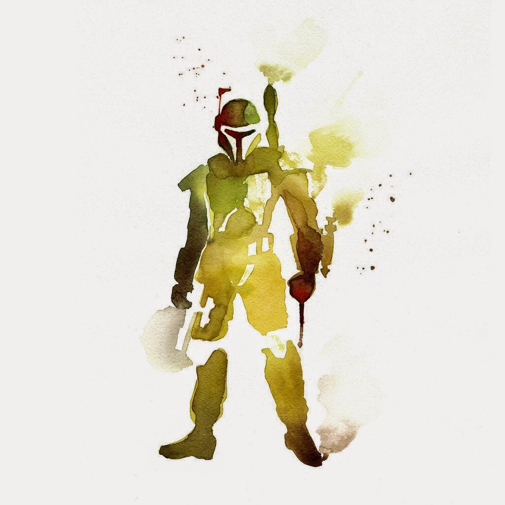 01-Boba-Fett-Mark-Austin-Clémentine-Campardou-Blule-Star-Wars-IV-V-VI-Watercolors-www-designstack-co