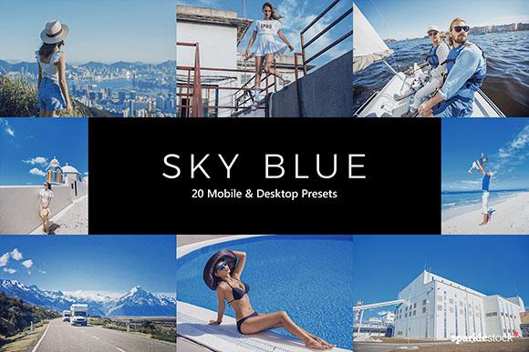 20 Preset Lightroom Blue Sky tone xanh biển (Mobile/Desktop)