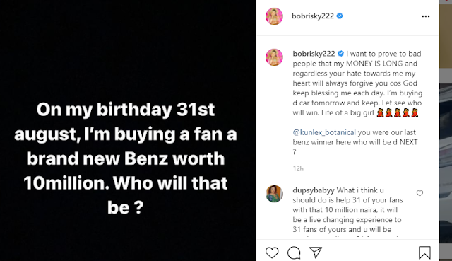 I Promise to buy a Fan a Mercedes Benz on my birthday- Bobrisky Vows