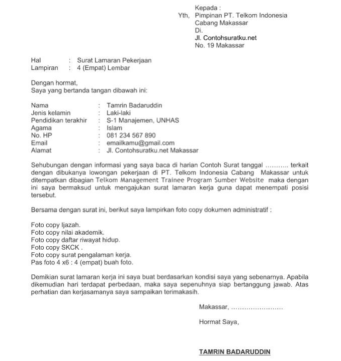 Surat Lamaran Telkom Indonesia