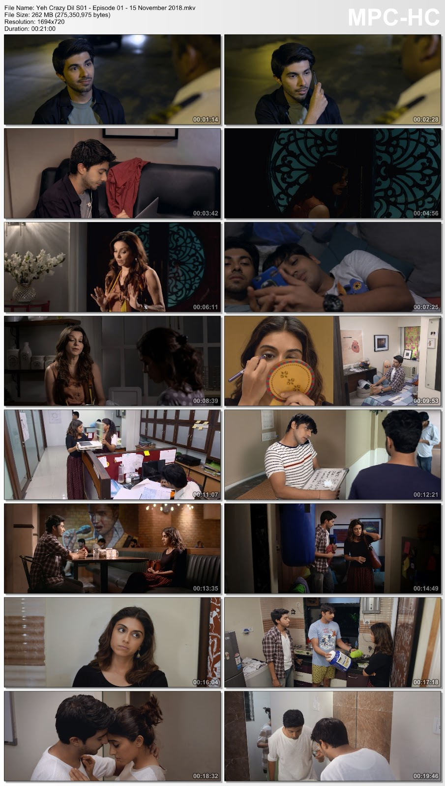 Screen Shoot of Yeh Crazy Dil (2018) Hindi S01 Web Series 720p WEB-DL