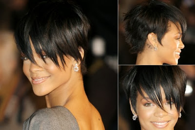 Rihanna short haircut with bang