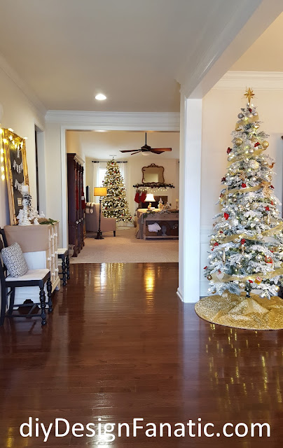 Christmas decorating, Christmas Foyer, Christmas Dining Room, Christmas tree, flocked tree, nativity, cottage, cottage style, farmhouse, farmhouse style, diydesignfanatic.com