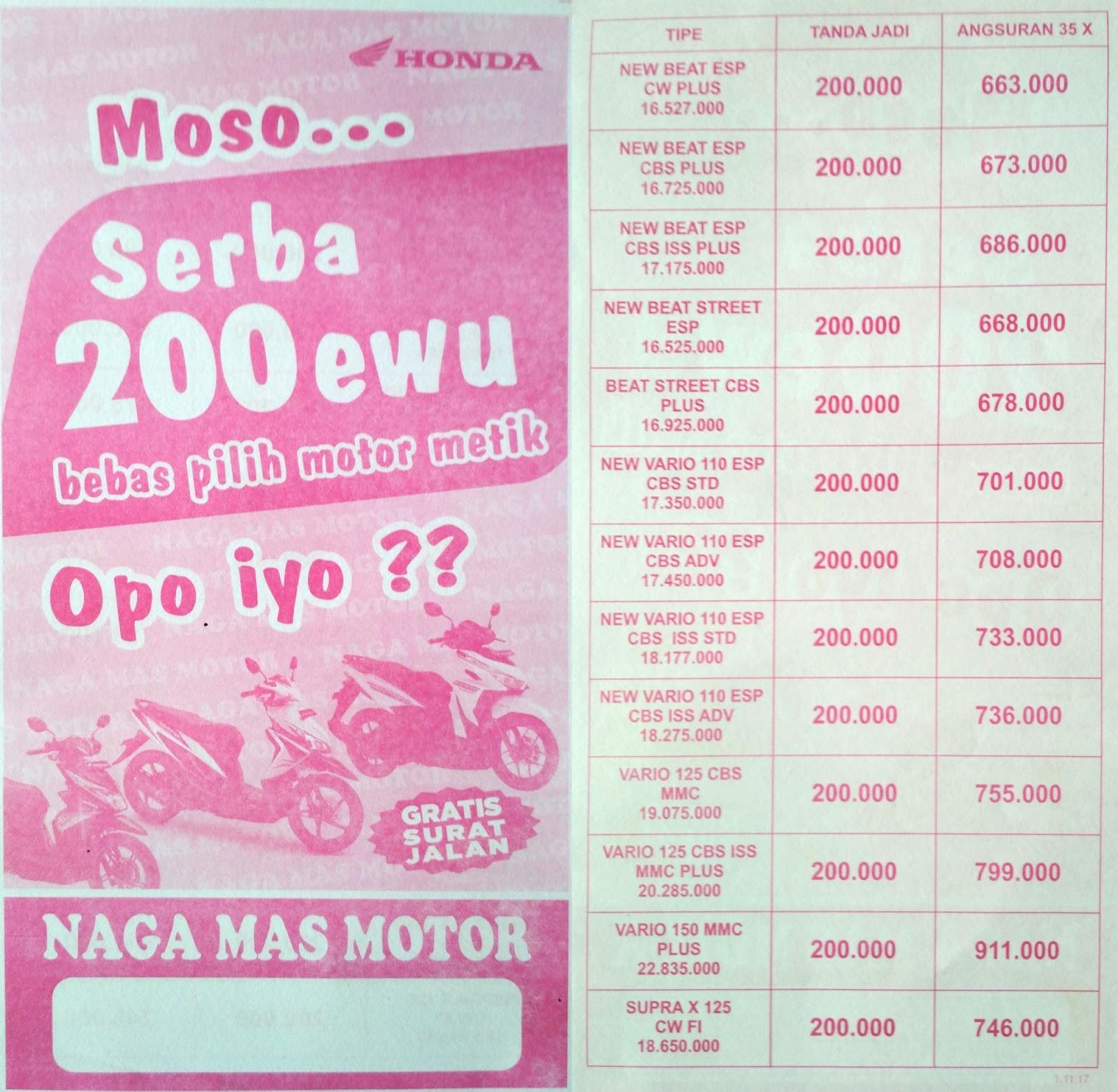 Anisa Counter Sales Dealer Nagamas Motor Klaten New Supra X 125 Fi Cast Wheel Energetic Red Sukoharjo Promo Terbaru Sepeda Honda Update Bulan Ini Brosur Kredit Vario