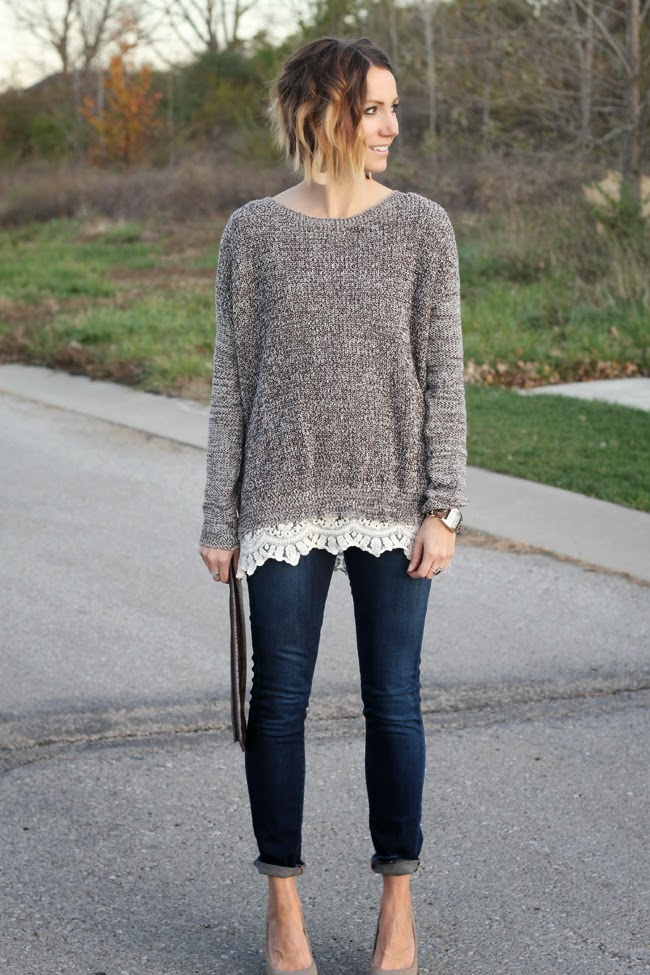 Lace trimmed sweater, Nickel & Suede Nude Leather earrings