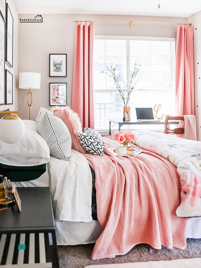 Pink bedding and curtains