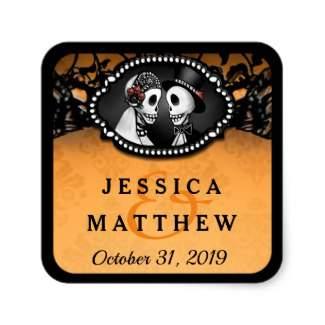 Orange & Black Halloween Skeletons Custom Names Wedding Square Sticker Label
