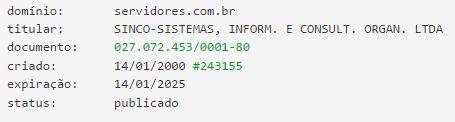 Domínio SERVIDORES.COM.BR completa 16 anos