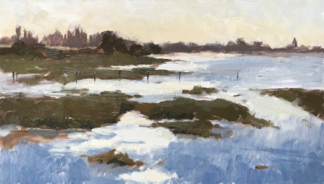 #402 'Early Light, Bosham Channel' 8×14″