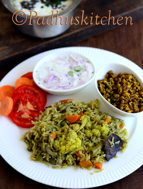 Coconut Milk Vegetable Green Pulao-Green Pulao Recipe- Hara Pulao