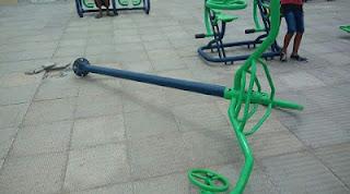 Vândalos destroem equipamentos de lazer em praça de Picuí