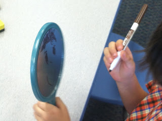 Dry erase markers on mirrors (Brick by Brick)