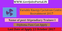 Variable Energy Cyclotron Centre Recruitment 2017 – 37 posts of Stipendiary Trainee