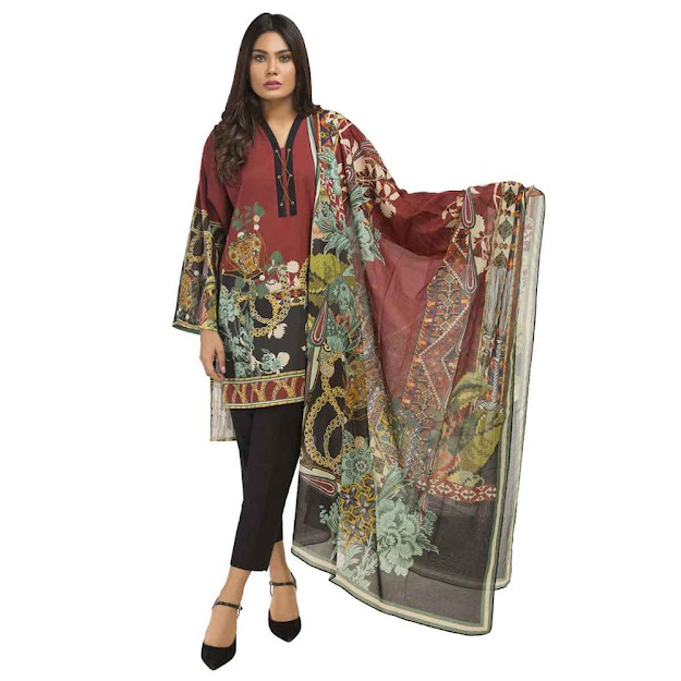 Gul Ahmed Maroon color ready to wear digital collection