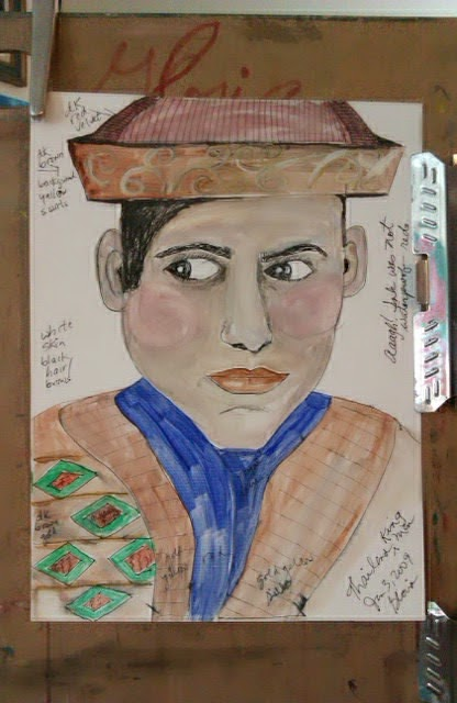 King of Thailand sketch by Gloria Poole of Missouri; yr 2009