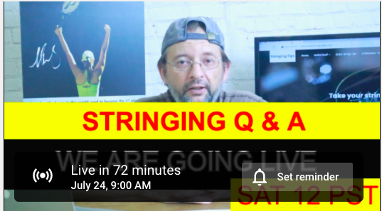 Live Racket Stringing Q & A, stringers hangout on Youtube